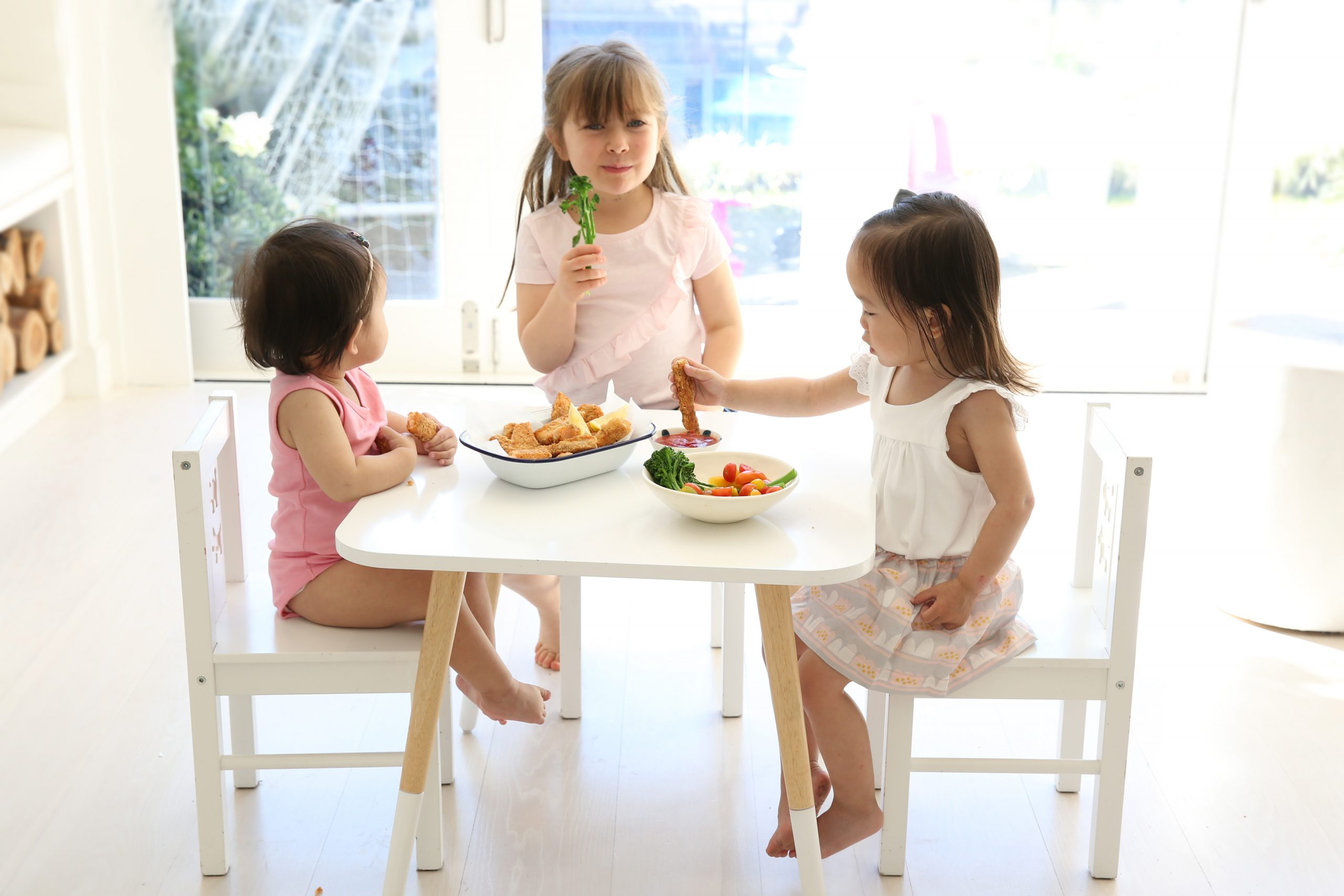 Kids having wholesome child meals together